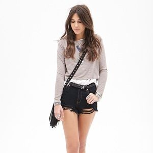 Forever 21 Long Sleeve Boxy Crop Top